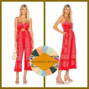 NWT! [ Free People ] Feel The Sun Red Jumpsuit 0